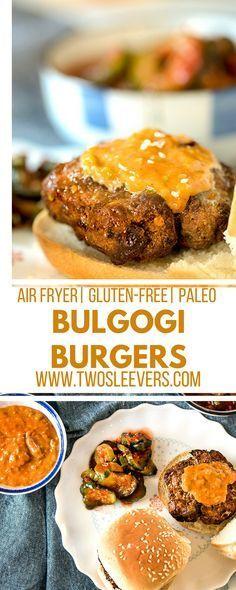 Air Fryer Beef Bulgogi Burgers - List of the best food recipes Best Burger Recipe, Burger Recipes, Gourmet Recipes, Cooking Recipes, Paleo Recipes, Pumpkin Recipes, High Protein Recipes, Low Carb Recipes, Korean Recipes