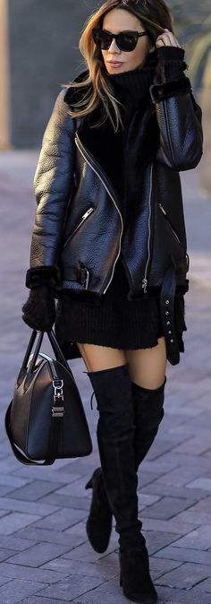 #winter #fashion /  Black Leather Jacket / Black Knit Dress / Black OTK Boots / Black Leather Tote Bag