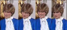 """Princess Diana's reaction to the question to her & Prince Charles about being in love. Diana quickly answers, """"Of course,"""" & by the end of the photos, you'll see her reaction to Prince Charles' """"whatever love is."""" Hurt & shocked. (previous pinner says """"I remember being stunned at home watching this interview."""")"""