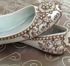 Cherry Blossom Bridal Ballet Flats Wedding Shoes by BeholdenBridal, $215.00