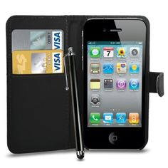awesome Apple iPhone 4 /4G /4S Leather Wallet Flip Case Cover Pouch & Touch Stylus Pen + Screen Guard & Cleaning Cloth - Black Check more at http://forsaletoday.uk/shop/iphone4/apple-iphone-4-4g-4s-leather-wallet-flip-case-cover-pouch-touch-stylus-pen-screen-guard-cleaning-cloth-black/