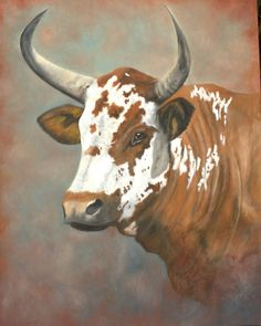Gado Vaca boi - Nguni cattle in oils Bull Painting, Longhorn Cattle, Cow Pictures, Bull Cow, South African Art, Cow Art, Western Art, Animal Paintings, Farm Animals