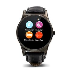Tecomax Bluetooth 40 Waterproof Circle Face Smart Outdoor Fitness Sport Watch Leather Wrist Watch with Heart Rate Monitor Gesture Control for Android  IOS Smart Phones Cool Black * For more information, visit image link from Amazon.com