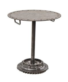 unusual repurposed vintage american industrial welded joint brushed metal pub table with weighted machine gear base