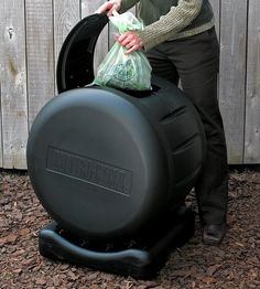One of numerous composter designs: tumbling compost drums are rotated frequently to keep compost mixed and aerated, and quickly produce finished, high-quality compost. This unit is made from recycled plastic; run-off can be collected from the base to be used as compost tea