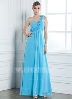 Empire One-Shoulder Floor-Length Chiffon Bridesmaid Dress With Ruffle Flower(s) (007051865)