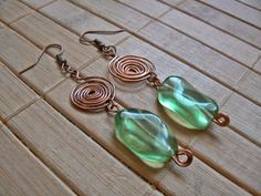 Tybetański Mnich: Akryl w miedzi earrings, wire wrapping, jewelry, copper, green, acrylic, transparent,