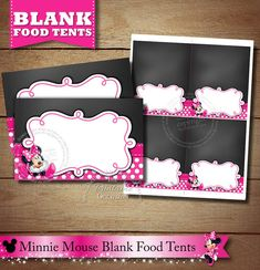 Blank Chalkboard Minnie Mouse Food Tents, Pink Minnie Mouse Placecards, Pink Polka Dotted Minnie Mouse Food Tents, Chalkboard Minnie Mouse