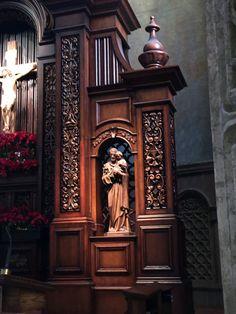 Woodworking details from the Reredos renovation at St. Charles Borromeo Catholic Church, North Hollywood, CA