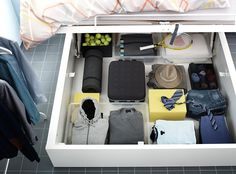 The space saving beds that feature convenient storage are perfect solutions for small bedroom designs. Intelligent home storage ideas create airy and pleasant rooms. Ikea Storage, Under Bed Storage, Storage Hacks, Storage Drawers, Storage Solutions, Storage Beds, Pegboard Storage, Ikea Catalogue 2015, Cama Ikea