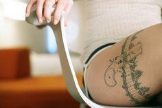 Thigh garter tattoo with lil gun #tattoo