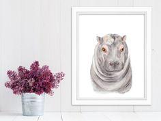 New to TinyToesDesign on Etsy: Hippo Art Print Baby Hippo Safari Nursery Kids Wall Decor Hippo Nursery Animal Art Watercolor Baby Girl Gray Pink (15.00 USD) #nurseryart #tombowpro