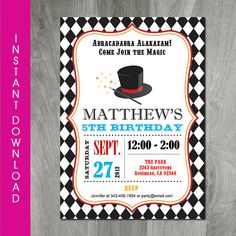 Magic Birthday Party Invitation Party by CharliesPrintables