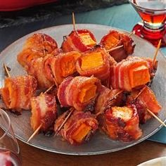 Bacon-Wrapped Sweet Potato Bites Recipe -After making little bacon-wrapped sausages for years, I needed a change! I had an extra sweet potato and half a package of bacon on hand, so I put on my thinking cap and came up with this treat. —Kelly Williams, Forked River, New Jersey