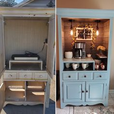 Furniture Projects, Home Projects, Diy Furniture, Armoire Makeover, Furniture Makeover, Refurbished Furniture, Repurposed Furniture, Coffee Bar Home, Furniture Restoration