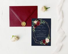 Burgundy and Navy Floral Wedding Invitation, Geometric Wedding Invite, Bohemian Wedding, Marsala, Blush, Gold, Corjl Editable Template 352 Wedding Shower Decorations, Wedding Shower Invitations, Geometric Wedding, Wedding Welcome, Autumn Wedding, As You Like, Invite, Burgundy, Wedding Suite