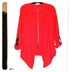 Woman Casual Blouse Back Zipper - RED M/L Polyester Casual Blouse with Back Zipper Tops Blouses