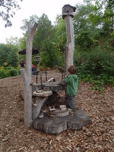 An Outdoor Abode for Minis-- Tinker up this tiny treasure with wood scraps. Use a table or tree stumps to set up a little station for kids to create a mini abode. Playing house definitely doesn't have to be indoors. Get a tour of the home from Minnesota Landscape Arboretum over at Three Sneaky Bugs!