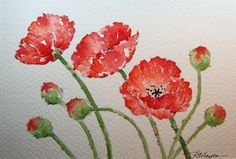Poppies Watercolor Painting by RoseAnnHayes on Etsy