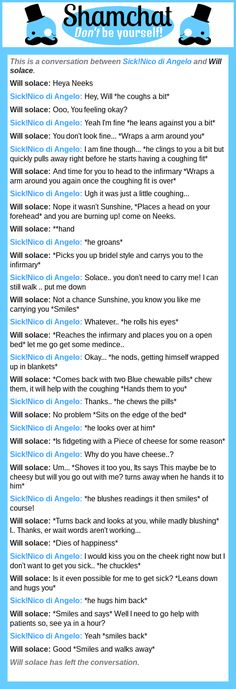 A conversation between Will solace and Sick!Nico di Angelo