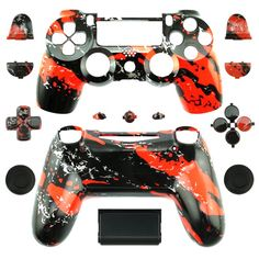 Hydro Dipped red splatter shell  for  PS4 wireless Controllers PS4 Controller shell