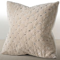 Chauran Meridian Sand Velvet 18-inch Luxury Pillow with Hand Applied Metal Studs