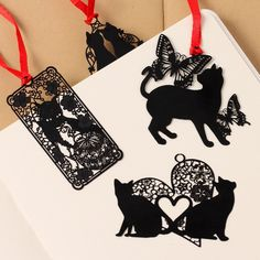 South Korea's creative students stationery Black cat series metal bookmark Sealed envelope sign hollow out mini bookmarks #Affiliate