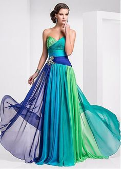 e9a6bbe774cab8 TS Couture Prom Formal Evening Military Ball Dress - Color Gradient A-line  Strapless Sweetheart Floor-length Chiffon withCrystal