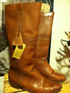 Vintage Boho HIPSTER Chic Tan Leather Tassel/FRINGE Boots by Kinney Shoes Size 7