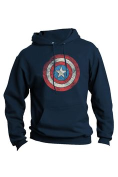 Jack Of All Trades Captain America Distressed Pullover Hoodie In Navy