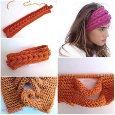 Here's the link to the tutorial DIY Knitted Headband Tutorial More Creative Ideas More Useful IdeasHow to crochet lace ribbon rose flowersThis is such an awesome method to make braided scarves.This Pin was discovered by Свеgonna try this with cr Knitted Headband, Knitted Hats, Crochet Headbands, Baby Headbands, Knitting Patterns, Crochet Patterns, Headband Tutorial, Diy Tutorial, Tutorial Crochet