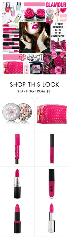 """""""Bright pink lipstick"""" by amethystes ❤ liked on Polyvore featuring beauty, Lime Crime, Anna Sui, Viktor & Rolf, Hello Kitty, Guerlain, Pinch Provisions, Bourjois, NARS Cosmetics and MAC Cosmetics"""