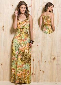 Vestido Longo com Amarração Estampa Mix - Posthaus