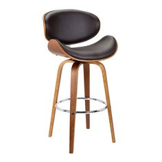 Solvang Mid-Century Swivel Bar Height Barstool in Brown Faux Leather with Walnut Wood - Armen Living Gender: unisex. Brown Bar Stools, Modern Bar Stools, Mid Century Bar Stools, Swivel Counter Stools, Wooden Counter, Bar Counter, D 20, Dining Room Bar, Bar Furniture
