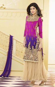 #Bollywood Star in Diva Beige, Deep Purple and #Magenta Salwar Suit