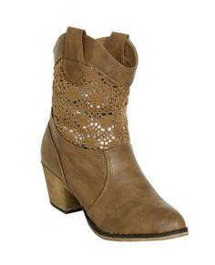 Crochet Leatherette Cowboy Boot   Shop Shoes at Wet Seal