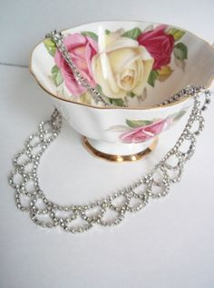 Vintage Clear Rhinestone Bib Necklace Jewelry Accessories Bridal Hollywood Glam Collar Scalloped. $24.99, via Etsy.