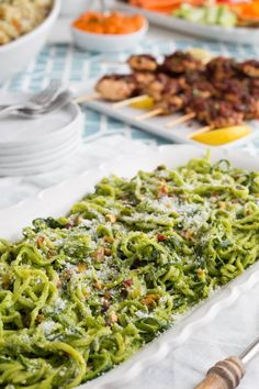 Zucchini Noodles Salad, Noodle Salad, Vegetable Noodles, Vegetable Dishes, Side Dish Recipes, Side Dishes, Pistachio Pesto, Dinner Party Menu, Dinner Parties