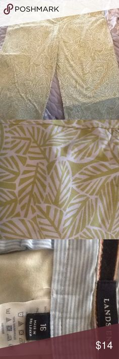 Green leaf print Capri These are super cool, they have a hidden stretchy waistband, buttons at bottom of Capri and they are beautiful!!!! Have stretch Lands' End Pants Capris
