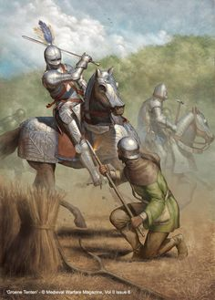 Caballeros medievales e infante. Por Jason Juta.
