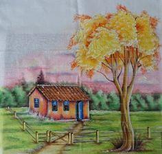 Oil Pastel Drawings, Art Drawings Sketches, Easy Drawings, Mini Paintings, Landscape Paintings, Watercolor Paintings, Art Painting Gallery, Painting Videos, Black Love Art