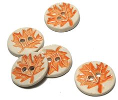 SALE Handmade Ceramic Stoneware Button  Orange by lindabelinda (Craft Supplies & Tools, Sewing & Needlecraft Supplies, Buttons & Fasteners, clay, stoneware, glaze, pottery, ceramics, floral, stamped, ceramic buttons, handmade buttons, maple leaf, leaf, maple, orange)