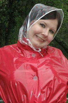 Red Raincoat, Vinyl Raincoat, Plastic Raincoat, Rain Bonnet, Mode Latex, Rain Mac, Plastic Mac, Rain Suit, Raincoats For Women