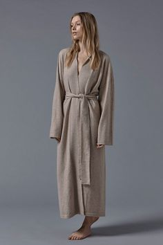 Legere Cashmere Dressing Gown in Beige. The Legere cashmere . Cotton Bag, Charcoal, Cashmere, Dressing, 40th Birthday, Birthday Ideas, Beige, This Or That Questions, Knitted Throws