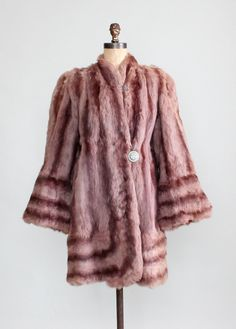 ~1940s Hollywood Hills Fur Coat~   rabbit fur  dyed a very muted shade of mauve (light brown with pinkish undertones).