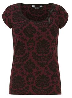 Baroque print bow detail tee - Tops & T-Shirts  - Clothing