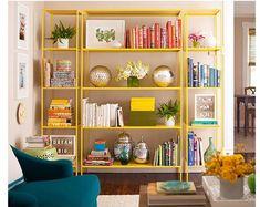 http://hello-hello.fr/15-ikea-hacks/ IKEA HACKS 2. ETAGERES VITTSJO + PEINTURE = FUN BIBLIOTHEQUE