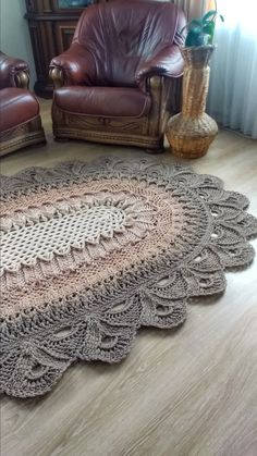 Crochet Doily Rug, Crochet Carpet, Crochet Lace Edging, Oval Rugs, Round Area Rugs, Dark Beige, Beige Color, Tapete Doily, Sewing Circles
