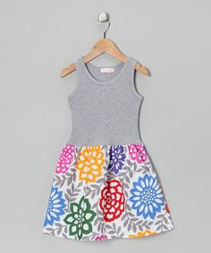Take a look at this Gray & Rainbow Flower Dress - Infant, Toddler & Girls by Alejandra Kearl Designs on #zulily today!