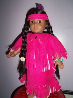 This could be for Kaya or any American girl doll. This Pink Dress is so cute Has a Head Band and A Pouch. Ag Doll Crafts, Diy Doll, Native American Clothing, American Indians, American Dolls, American Girl, Ag Dolls, Girl Dolls, Indian Dolls
